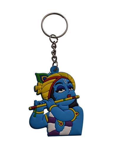 Spiritual World Llavero de goma suave azul de una sola cara para el Señor Krishna