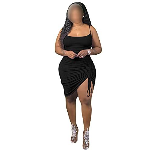 GTHTTT Mujer Vestido Sin Mangas Plisado Liso Fiesta Cóctel Falda Wrap Vestidos de Camiseta Verano Casual para Diario Playa Vacaciones,Negro,L