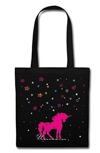 Mein Zwergenland Stofftasche mit langem Henkel, 2 L, Unicorn, schwarz
