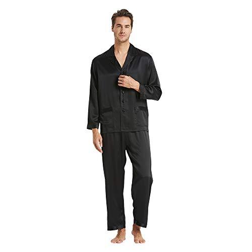 LilySilk Seide Pyjama Herren Nachtwäsche Unifarbe Elegant 22 Momme- XL Schwarz