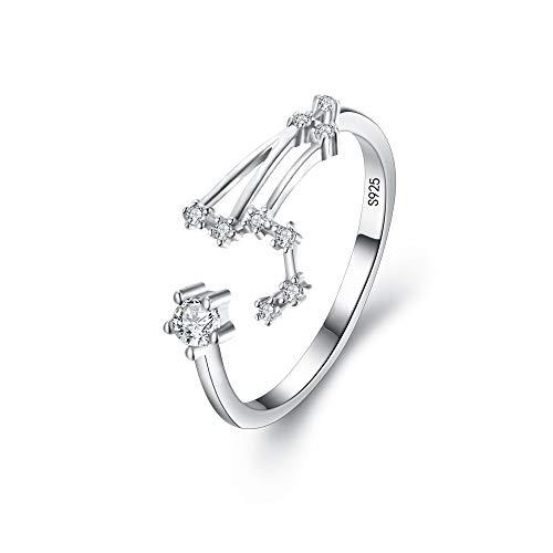 Clearine Anillo ajustable de plata de ley 925 con circonita cbica para horscopo de constelacin astrologa y zodaco para mujer, Circonita cbica, Cubic Zirconia,