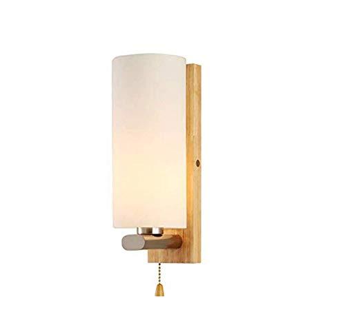 PSOU wandlamp- Moderne massief houten wandlamp met trekschakelaar ronde glazen lampenkap wandlamp schijnwerper slaapkamer gang E27 wandlamp 2.17