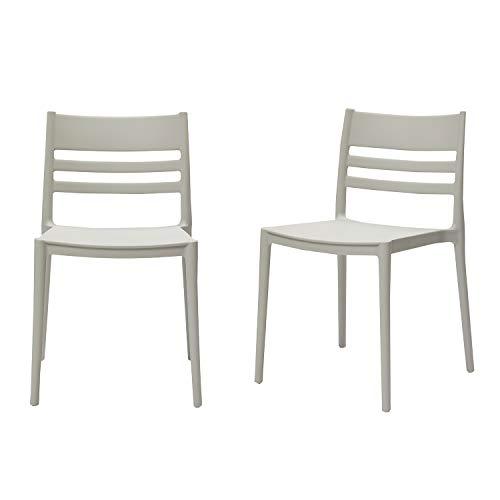 Amazon Basics Light Grey, Armless Slot-Back Dining Chair-Set of 2, Premium Plastic