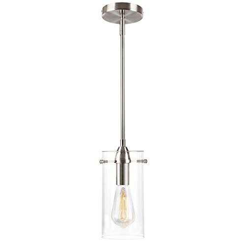 T&A Brushed Nickel Kitchen Island Light,Clear Glass Shade Mini Cylinder Pendant Light