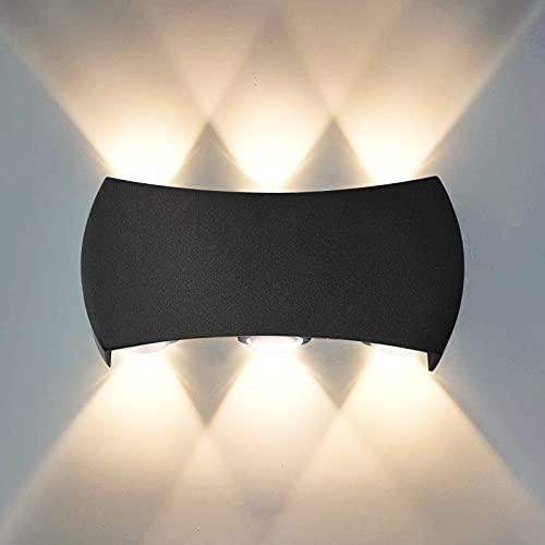 Wandleuchte Außen/Innen, 6W LED Wandlampe Modern, warmweiß Wandlampe 3000K Außenwandleuchte, Wandbeleuchtung IP65 für Schlafzimmer, Wohnzimmer, Badezimmer, Schwarz