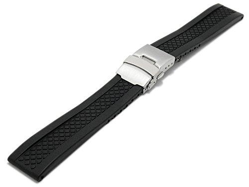 Meyhofer Uhrenarmband Melbourne 24mm schwarz Silikon Karomuster Faltschließe MyHekkb216/24mm/schwarz/FS