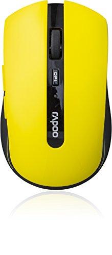 Rapoo 7200P kabellose Maus (5 GHz Wireless, optisch, 1000 DPI umschaltbar, 6 Tasten + 4D Mausrad, Nano-USB für PC, Laptop, iMac, Macbook, Microsoft) gelb