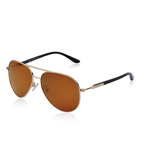 LUENX Hombres gafas de sol Aviador polarizado con estuche - UV 400 Protección Marrón Lente Marco de Dorado 60mm