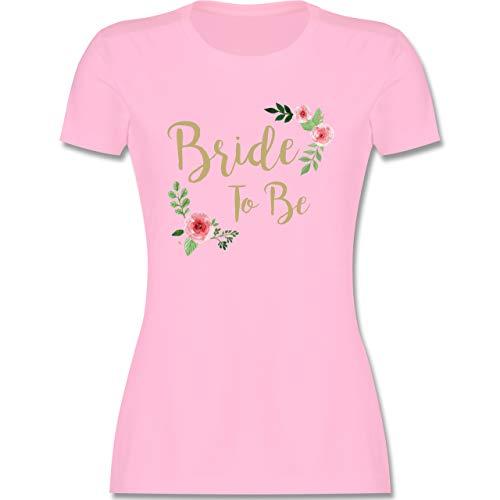 JGA Junggesellenabschied Frauen - Bride to Be - M - Rosa - Braut Tshirt Blumen - L191 - Tailliertes Tshirt für Damen und Frauen T-Shirt