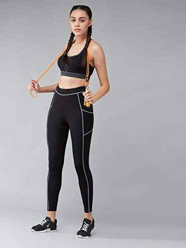 BLINKIN Yoga Gym Workout and Active Sports Fitness Contrast Binding Black Leggings Tights for Women|Girls with Side Pockets(033)