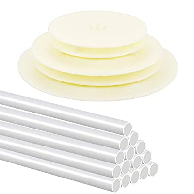 HOVEOX 15 Pieces Plastic Cake Dowel Rods Cake Round Dowels Straws and 5 Pieces Cake Boards Cake Circle Base Boards for Tiered Cake Construction and Stacking