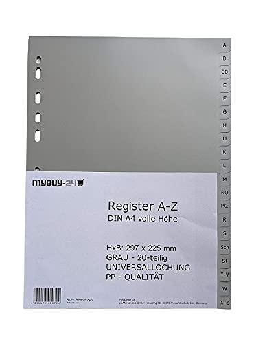 10er Sparpack Register A-Z A4 20-teilig, volle Höhe, Universallochung PP Kunststoff grau 225 x 297mm Trennblätter Buchstaben A - Z Sparpack