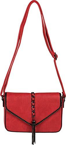 styleBREAKER Damen Umhängetasche im Envelope Design mit Kugel-Nieten, Kette und Quaste, Schultertasche, Handtasche, Tasche 02012274, Farbe:Rot