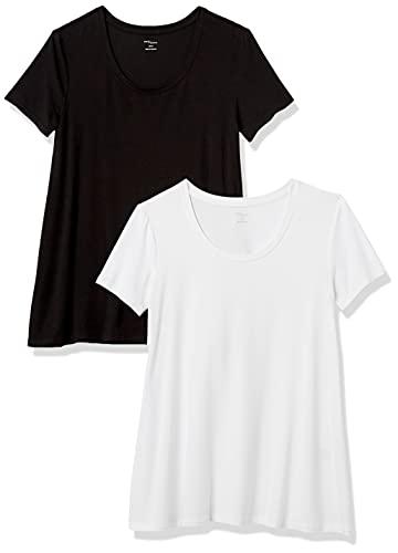 Marca Amazon - Daily Ritual – Camiseta de manga corta holgada con cuello redondo para mujer, Multicolor (Black/White 999), US M (EU M - L)