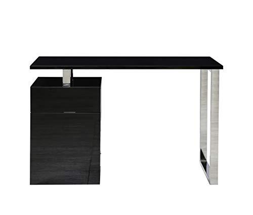 Centurion Support CALISTA nero lucido con gambe in acciaio spazzolato, 3 cassetti contemporanei, casa, ufficio, computer, scrivania