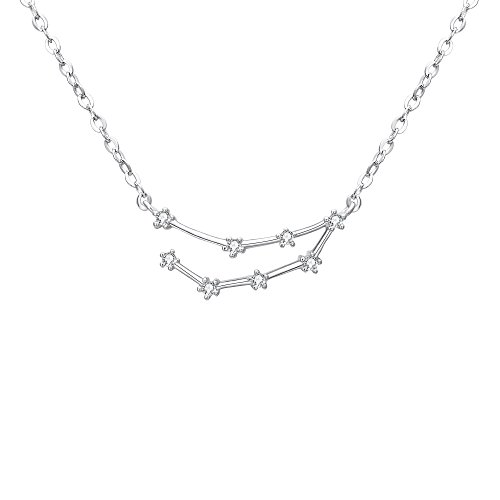 Clearine Halskette Sternzeichen 925 Sterling Silber Cubic Zirconia Sternbilder 12 Horoskop ''Steinbock'' Astrologie Anhänger Kette Klar für Damen Mädschen