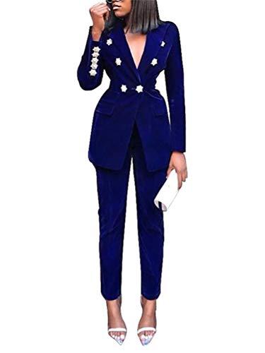 ORANDESIGNE Femme Blazer 2pcs Suit Élégant Manches Longues Slim Fit OL Bureau Affaires Veste De Costume Basique Manteau Cardigan Blouson Jacket B Bleu 38