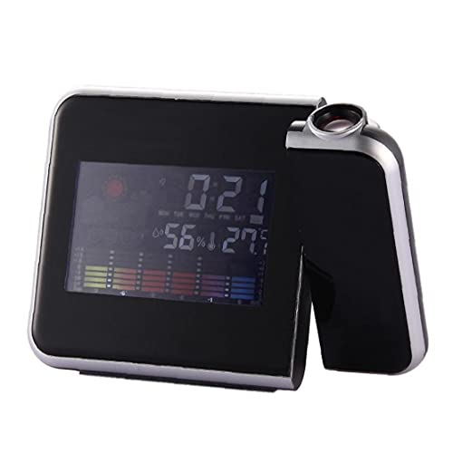 Ledバックライトウェザーステーション温度計カレンダー目覚まし時計アクセサリーリビングルームとデジタルlcd Ledプロジェクター目覚まし時計