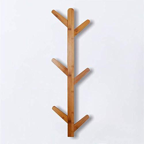 POETRY Colgador de pared de bambú con ganchos fácil de montar para bolsos, bufandas, ropa en el dormitorio y cuarto de baño, 78 x 22 x 6 cm.