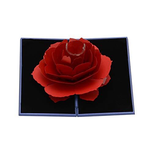 HSKB Ringsdoos, roze, bloemen, ring, box, ring, oorring, geschenk, opslag, ring, sieradendoos, 3D pop-up, roze, trouwring, doos, Valentijnsdag, ring, sieradendoos, verlovingsring, doosje