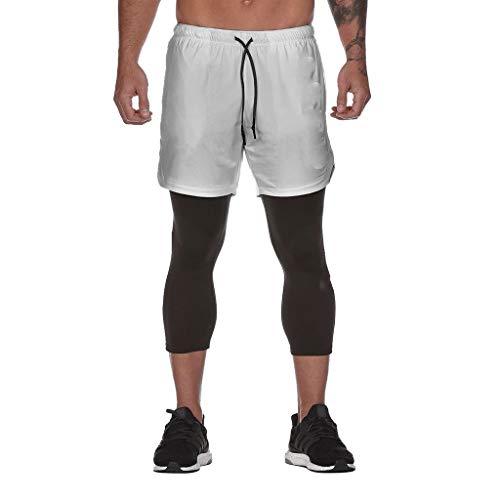 VANMO Herren Fitnesshose, 2020 Neu Sommer 2-in-1-Fitnesshose Herrenmode Sport Fitness Hosen mit Innentasche Fitness Hosen Innentasche Draußen hängendes Handtuch