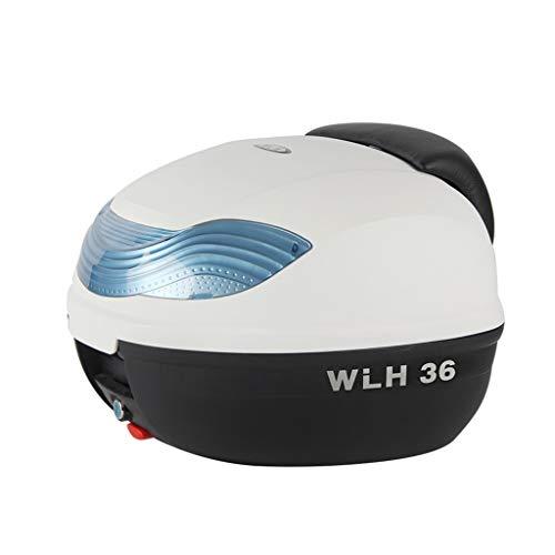 ADKINC 32L Topcase Motorradkoffer, Wasserdichter Kofferraumverschluss, Aufbewahrungskoffer mit Rückenlehne - Kann einen vollen Helm aufbewahren (Rot, Blau, Weiß)