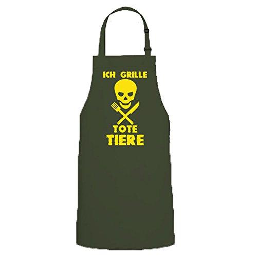 Copytec Tablier de barbecue pour homme avec inscription en allemand « Ich Grille, Animaux, Tête de mort, tête de mort, barbecue » #12757 - Vert - Taille Unique