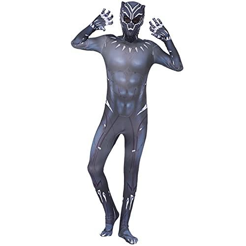 FLJLGY Niños Unisex Adultos Superhéroes Body Justice League Avengers Black Panther 2 Actor Mallas Traje Halloween Cosplay Party Fancy Dress Props,Black- Men L 165~175 cm