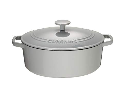 Cuisinart Chef's Classic Enameled Cast Iron 5.5-Quart Oval Covered Casserole, Enameled Cool Grey