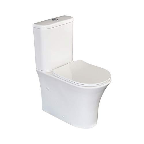 Inodoro Completo Navia con sistema Rimless Cisterna con mecanismo economizador 3/6 litros Tapa con caída amortiguada Adosado a la pared Salida dual