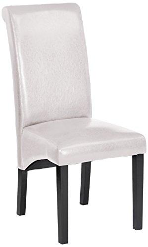Bitia blanco Silla madera tapizada polipiel imitación cuero para comedor, salón. Estilo...