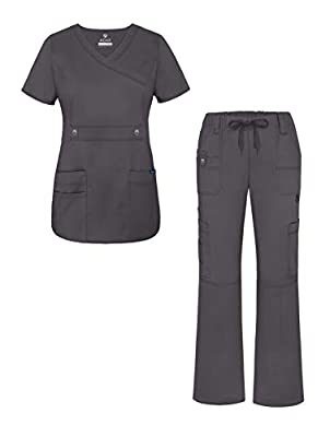 Adar Active Classic Scrub Set for Women - Crossover Top and Multi Pocket Pants - 3500 - Pewter - M