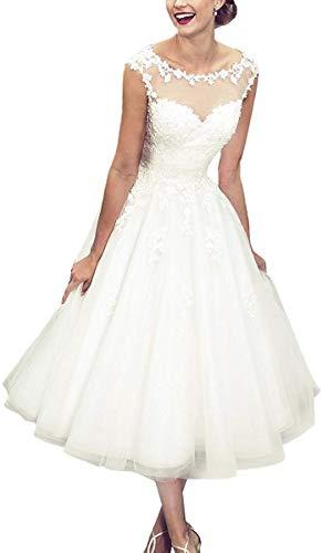 Vintage Brautkleid Hochzeitskleider Damen Knielang Brautmode Tüll Spitze mit Applikation A Linie Prinzessin Standesamt