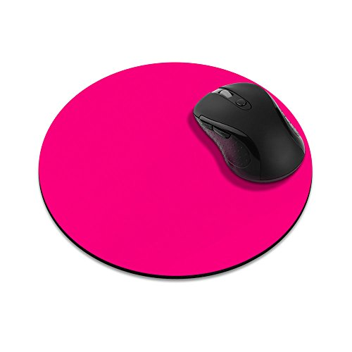 Non-Slip Round Mousepad, FINCIBO Solid Hot Pink Mouse Pad for Home, Office and Gaming Desk