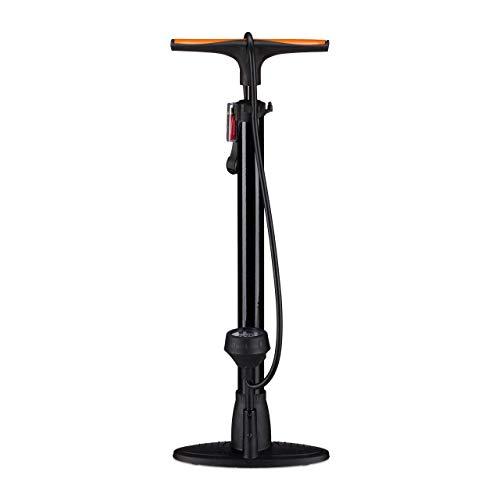 Relaxdays Profi Standpumpe mit Manometer, Doppelpumpenkopf, Universal Luftpumpe, alle Ventile, Adapter, 60 cm, schwarz