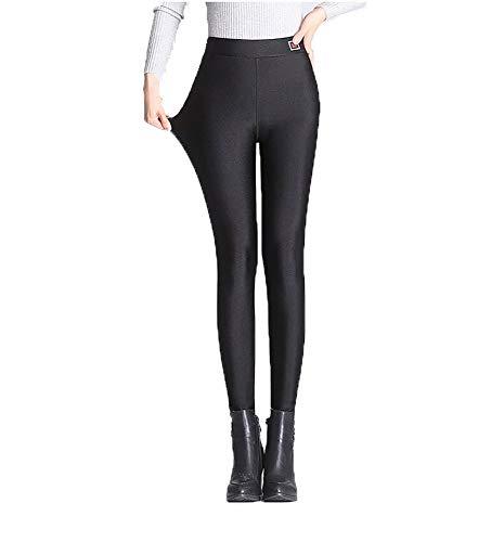 Pluto & Fox Leggings Pantalónes Térmico para Mujer De Brillo Suave Talla Grande con/Sin Forro Polar Elegible Elegante Super Elástica Tamaño L-4XL (Negro(Sin Forro Polar), 4XL)