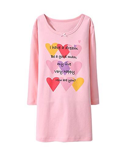 DianShaoA Drucken Nachthemd Mädchen Prinzessin Langärmelig Rundkragen Kinder Einfach Schlafanzüge Pink3 130