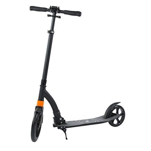 LIUTT Scooter Plegable, Marco de aleación de Aluminio Duradero Negro, Plegable, Ajustable, para Adultos, Herramienta Resistente para Scooter
