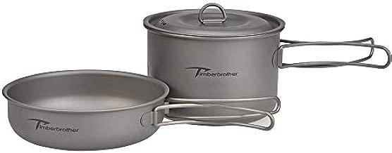 Timberbrother Titanium Camping Cookware Mess Kit with Lightweight Folding Camping Pots and Pans Set (1300ml)