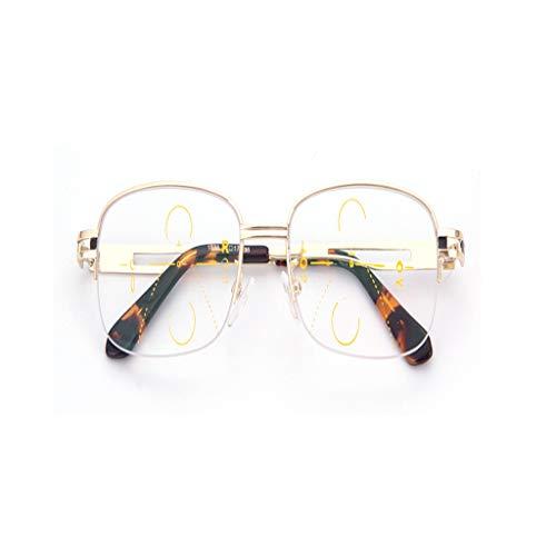 yankai Halbrand Progressive Leser Vision Multifokus Gläser Anti UV Lesebrille Männer Biegsamen Lesebrille Männer Langstrecken Dual-Use HD Progressive Ältere Brille Myopie NIU
