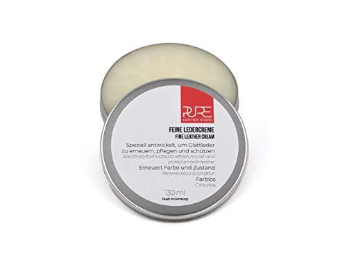 PURE Leather Studio Feine Ledercreme farblose Lederpflege Creme 130 ml für alle Glattlederarten mit Avocadoöl l Jojobaöl l Mandelöl l Sojaöl und echtem Bienenwachs