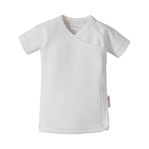 Bornino Bornino GOTS Raglan-Flügelhemd Kurzarm - kurzärmeliges Baby-Hemdchen aus Reiner Bio-Baumwolle mit Druckknöpfen an den Seiten & Bindebändern - weiß