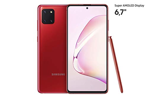 Samsung Galaxy Note10 Lite Android Smartphone ohne Vertrag mit Stift, 4.500 mAh Akku, Schnellldaden, 6,7 Zoll Super AMOLED Plus Display, 128 GB/6 GB RAM, Dual SIM, Handy in rot, deutsche Version