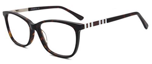 FERAVIA Lente transparente sin prescripción de fotograma completo cuadrado de acetato simple para hombres mujeres demi eyewear