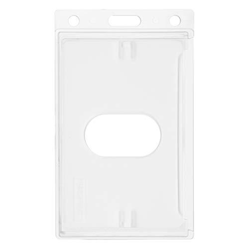 Karteo® Kartenhalter mit Daumenausschub | Ausweishülle transparent vertikal | Ausweishalter aus Hartplastik | Schutzhüllen für Ausweise Namensschilder Werksausweise Karten im EC-Kartenformat