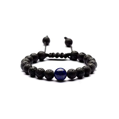 Armband van natuursteen kralen armband, wierook 8 mm vulkanische stenen armband natuurlijke 10 mm lapis lazuli zeven chakren Weave 7 pols armband, gepersonaliseerde kleding accessoires sieraden
