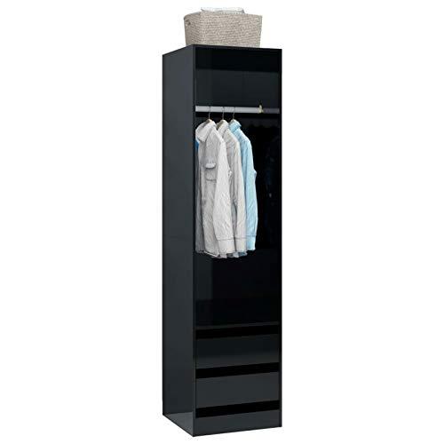 Festnight Kleiderschrank mit 2 Schubladen Garderobenschrank Mehrzweckschrank Aufbewahrungsschrank Hochglanz-Schwarz 50×50×200 cm Spanplatte