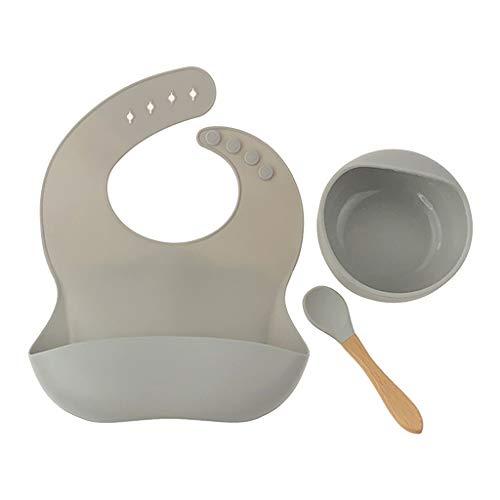 Yushu Juego de 3 piezas de vajilla para bebés recién nacidos+plato de cena+cuchara Set impermeable de silicona de grado alimenticio para alimentación de saliva toalla de dentición (material: silicona)