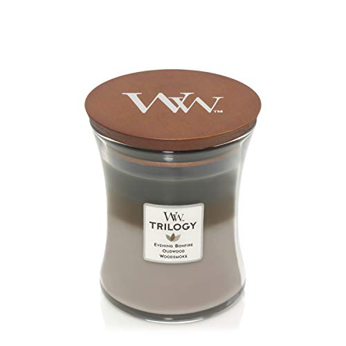 WoodWick Hourglass Scented Trilogy Candle with Pluswick Innovation, Cozy Cabin, Medium