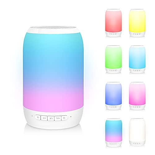 Bluetooth Lautsprecher mit Radio, KKUYI Lautsprecher Boxen Bluetooth Tragbarer Musik Box mit 7 Farbwechsel/TWS/TF-Karte/AUX-In für Kinder, Erwachsene, Party, Draussen, Indoor